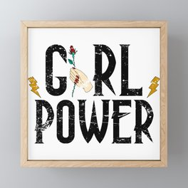 girl power-floral Framed Mini Art Print