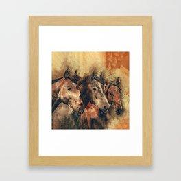 Galloping Wild Mustang Horses Framed Art Print
