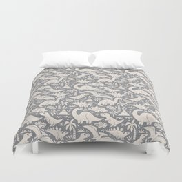 Delightful Dinos (gray) Duvet Cover