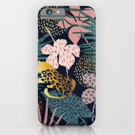 Exotic Golden Jungle Leopard & Pink Palm Leaf Geometric Pattern iPhone Case