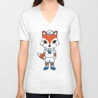 preppy V-neck T-shirts featuring The Preppy Fox by moochi
