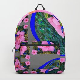 GREY PINK HIBISCUS FLOWERS & BLUE-GREEN PEACOCK Backpack