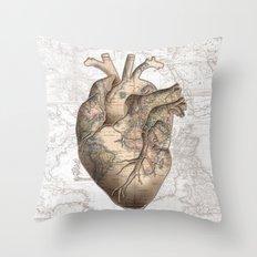 adventure heart-world map 1 Throw Pillow