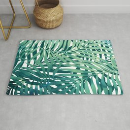 Hawaii Prints, Green and Blue, Abstract Art Rug