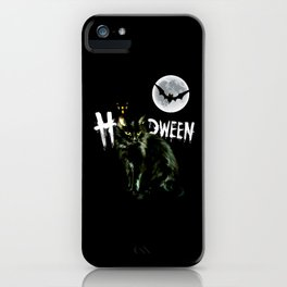 black cat halloween horror iPhone Case