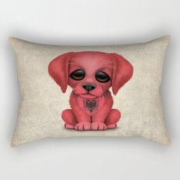 Cute Puppy Dog with flag of Albania Rectangular Pillow