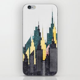 Colorful City Buildings And Skyscrapers Sketch, New York Skyline, Wall Art Poster Decor, New York iPhone Skin