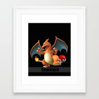 charizard Framed Art Prints featuring Charizard by Yamilett Pimentel