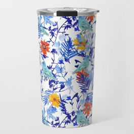 Indigo Bunting Floral Travel Mug