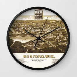 Aerial View of Medford, Wisconsin (1885) Wall Clock