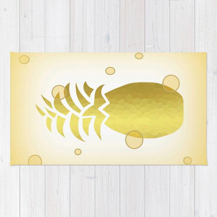 Golden Pineapple Decor -Fruit -Food Rug