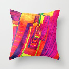 Pop Art Stairwell Abstract Throw Pillow