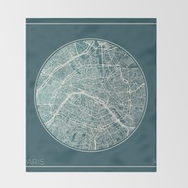 Paris Map Planet Throw Blanket