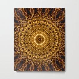 Golden ornamented mandala Metal Print