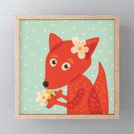 Cute Fox And Flowers Framed Mini Art Print