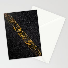 Old Yellow painted line on asphalt road Stationery Cards