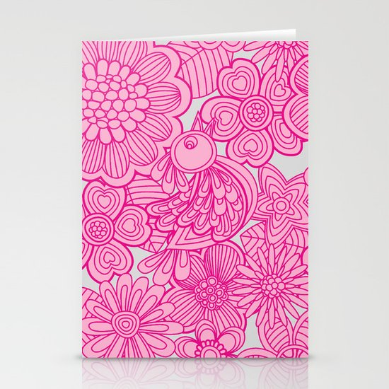 """""""Welcome birds to my pink garden"""" Stationery Cards"""