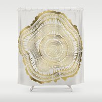 cat coquillette Shower Curtains featuring Gold Tree Rings by Cat Coquillette