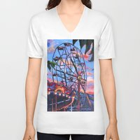 ferris wheel V-neck T-shirts featuring Ferris Wheel by Juliette Caron