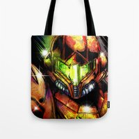 samus Tote Bags featuring Samus by Vincent Vernacatola