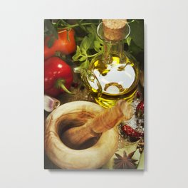 Olive oil, herbs and spices Metal Print