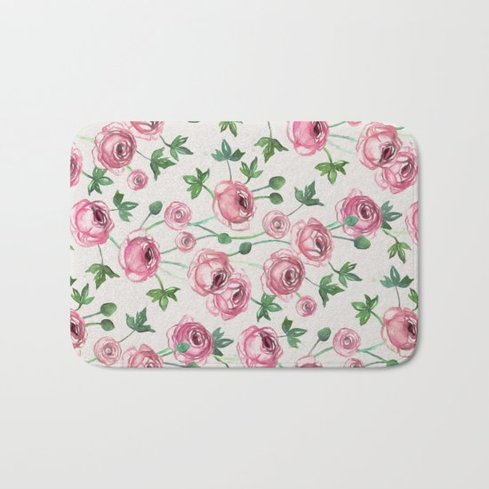 Painted Pink Ranunculus Pattern Bath Mat