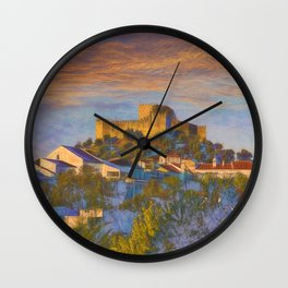 dawn at Belver castle, Portugal Wall Clock