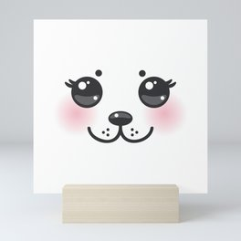 Kawaii funny albino animal white muzzle with pink cheeks and big black eyes Mini Art Print