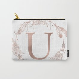 Letter U Rose Gold Pink Initial Monogram Carry-All Pouch