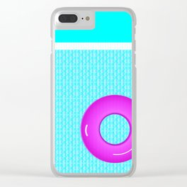 Swim Poolside in Summer Blue Planet Pink Tube Clear iPhone Case