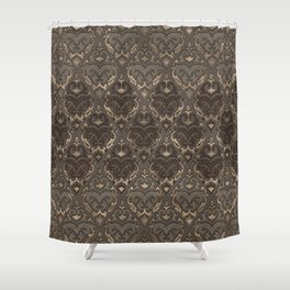 Oriental Pattern -Pastels and Brown Leather texture Shower Curtain