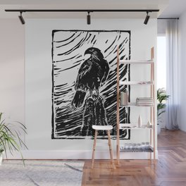 Harris Hawk Woodcut Wall Mural