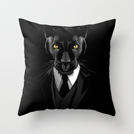 Panther tuxedo Throw Pillow