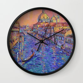 Sunset Over The Grand Canal In Venice -palette knife urban city landscape by Adriana Dziuba Wall Clock