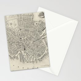 Vintage Map of Boston MA (1838) Stationery Cards