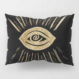 Evil Eye Gold on Black #1 #drawing #decor #art #society6 Pillow Sham