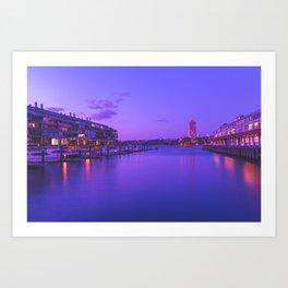Circular Quay Sydney Harbor in Neo-noir Stylisation | Print Art Print
