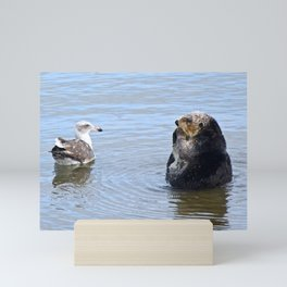 otter and gull Mini Art Print