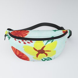 Hand Painted Tropical Flower Pattern (Yellow, Orange, and Red) Fanny Pack