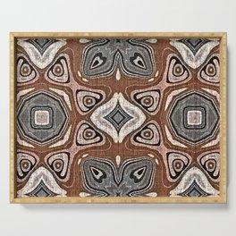 Gray Brown Taupe Beige Tan Black Hip Orient Bali Art Serving Tray