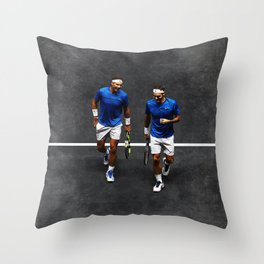 Nadal and Federer Doubles Throw Pillow