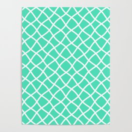 Menthol green and white curved grid pattern Poster