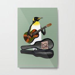Penguin Busking Metal Print