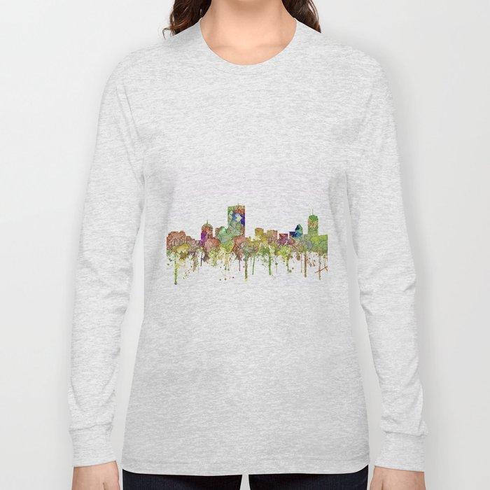 Boston, Massachusetts Skyline SG - Faded Glory Long Sleeve T-shirt
