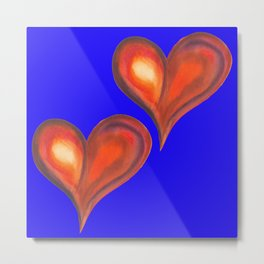 Two watercolor hearts isolated on blue background. Metal Print
