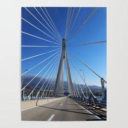 suspension bridge crossing Corinth Gulf strait, Patra, Greece Poster
