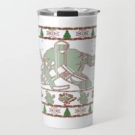 Hockey Goalie Christmas Travel Mug