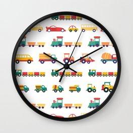 Farm Trucks and Trains Wall Clock