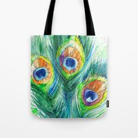 peacock feather Tote Bags featuring Peacock feather  by Slaveika Aladjova
