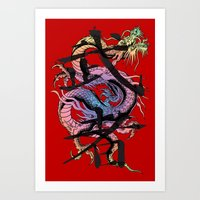dragon Art Prints featuring Dragon by Spooky Dooky